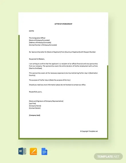 FREE Visa Sponsorship Letter Template Download 2164+ Letters in