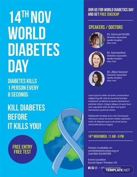 World Diabetes Day Flyer Template Templatenet