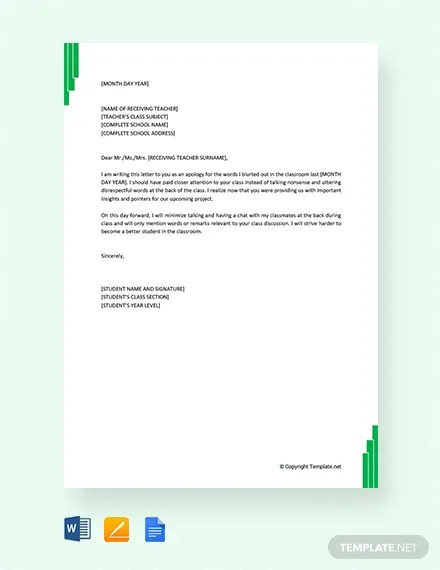 FREE Apology Letter to Teacher from Student Template Download 2068+