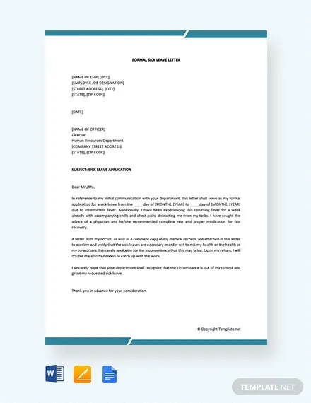 FREE Formal Sick Leave Letter Template Download 2191+ Letters in