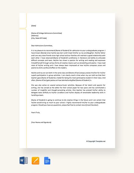 sample letter of recommendation for scholarship from family member
