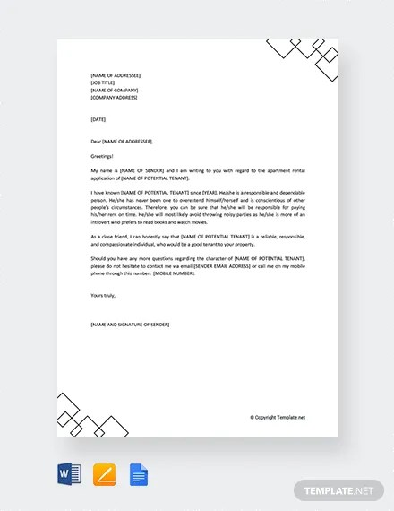 FREE Character Reference Letter for Apartment Rental Template