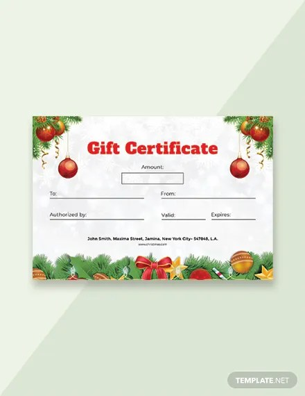 FREE Christmas Gift Certificate Template in Adobe Photoshop