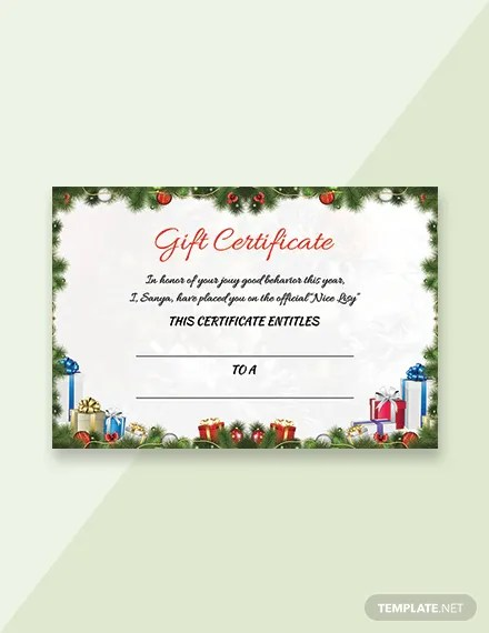 FREE Sample Christmas Gift Certificate Template in Adobe Photoshop
