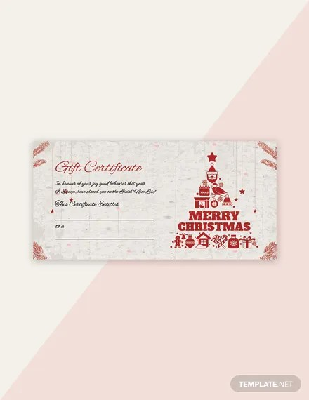FREE Blank Christmas Gift Certificate Template in Adobe Photoshop