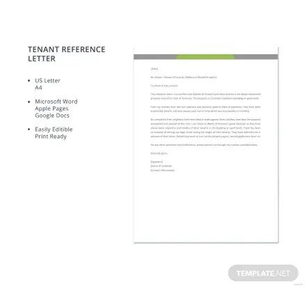 Free Tenant Reference Letter Template in Microsoft Word, Apple Pages - Tenant Recommendation Letter