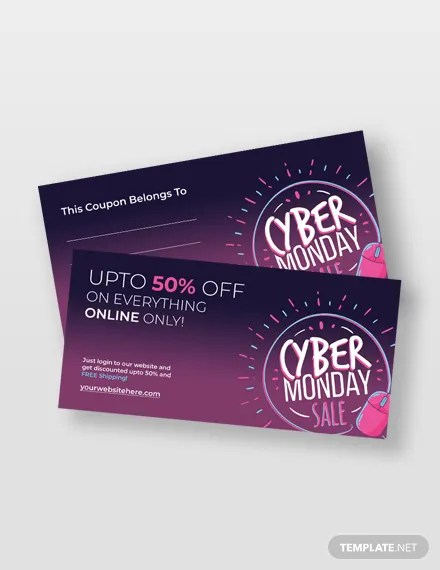 Cyber Monday Coupon Template in Adobe Photoshop, Illustrator