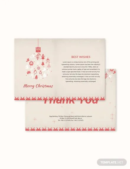 FREE Christmas Thank You Card Template Download 1245+ Cards in