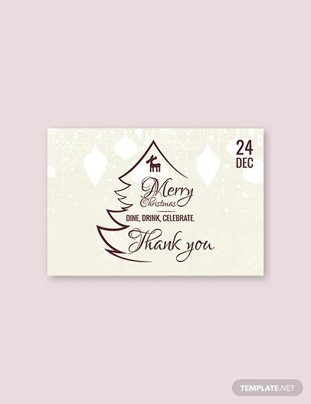 FREE Restaurant Christmas Thank You Card Template Download 1245+