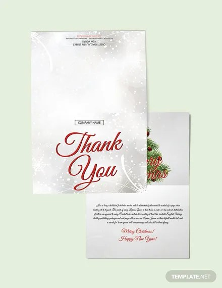 FREE Merry Christmas Thank You Card Template Download 1251+ Cards