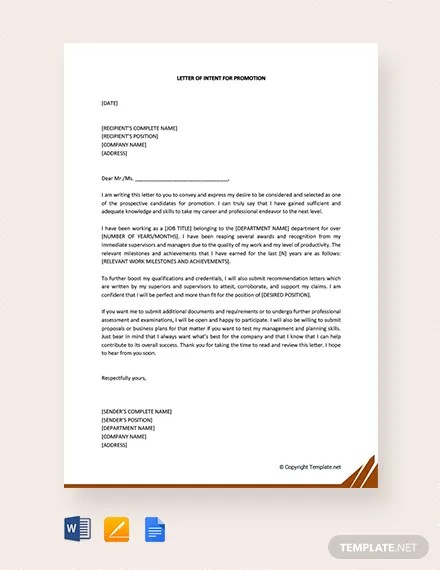 FREE Letter of Intent for Promotion Template Download 1994+ Letters