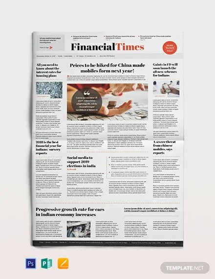 Financial Newspaper Template Download 11+ Newspaper Templates in