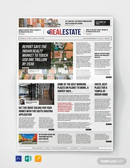 Real Estate Newspaper Template Download 11+ Newspaper Templates in