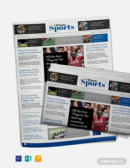 Free Sports Newspaper Template in Adobe Photoshop, Microsoft