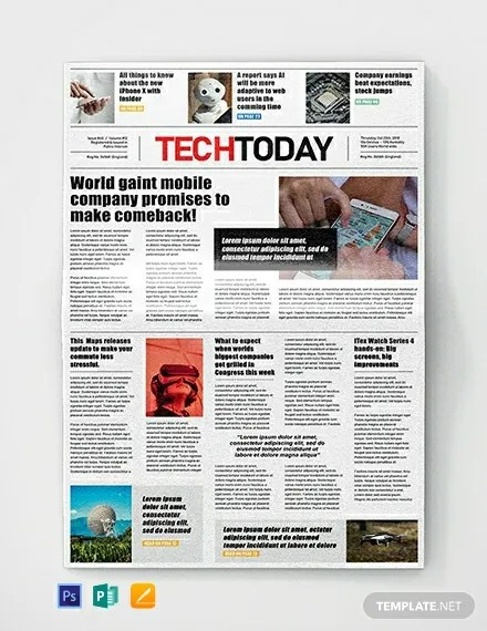 Technology Newspaper Template in Adobe Photoshop, Microsoft