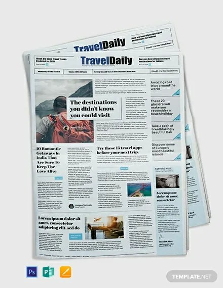 FREE Travel Newspaper Template in Adobe Photoshop, Microsoft