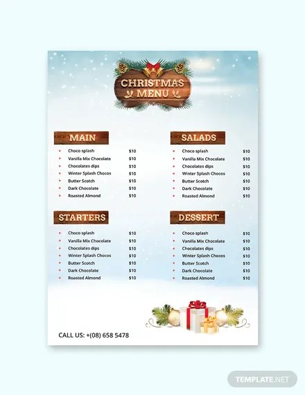 149+ FREE Menu Templates Download Ready-Made Templatenet