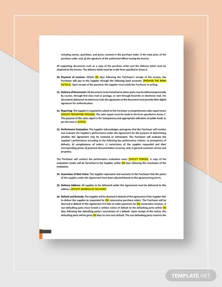 Blanket Purchase Agreement Template in Microsoft Word, Apple Pages