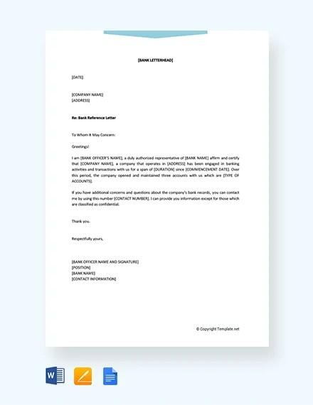 bank reference letter - Pinarkubkireklamowe