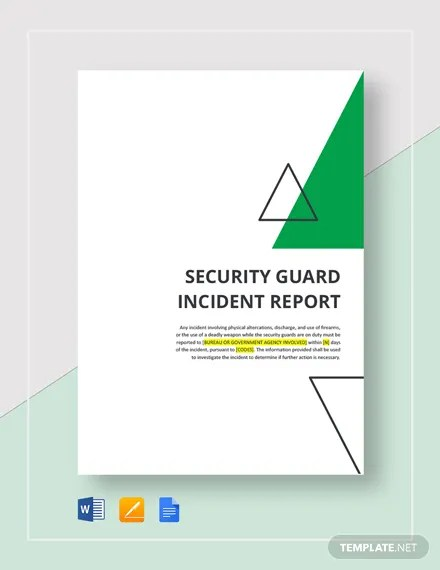 Security Guard Incident Report Template Download 312+ Reports in
