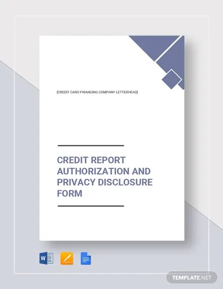Credit Report Authorization Form Template Download 161+ Reports in