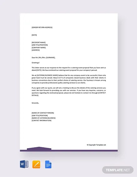 FREE Catering Event Proposal Letter Template Download 2191+ Letters