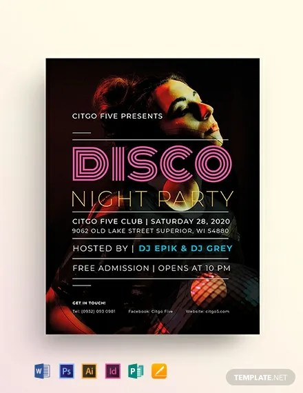 Disco Flyer Template in Adobe Illustrator, Photoshop, InDesign