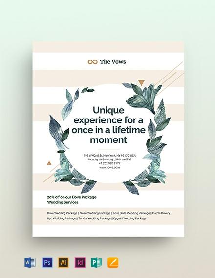Wedding Planner Flyer Template in Adobe Photoshop, Illustrator