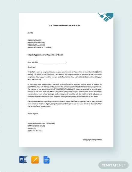FREE Job Appointment Letter for Dentist Template Download 2191+