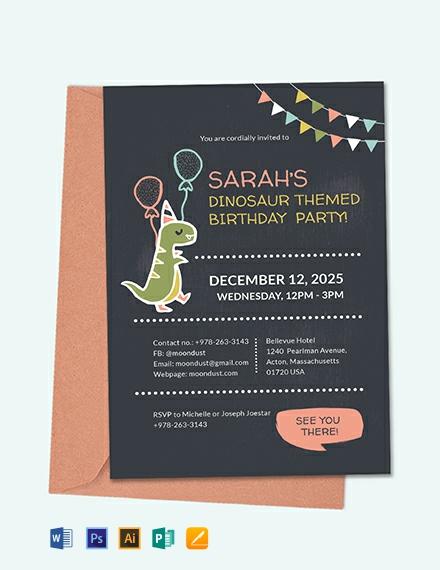Chalkboard Dinosaur Birthday Invitation Template Download 226+