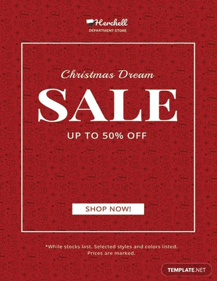 FREE Christmas Dreams Sale Poster Template in Adobe Photoshop