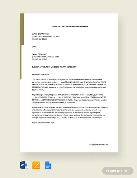 FREE Landlord and Tenant Agreement Letter Template Download 1996+