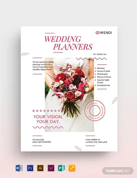 Wedding Planner Flyers Designs  Wedding Event Planning Flyer Ad Template Design  Simple Wedding
