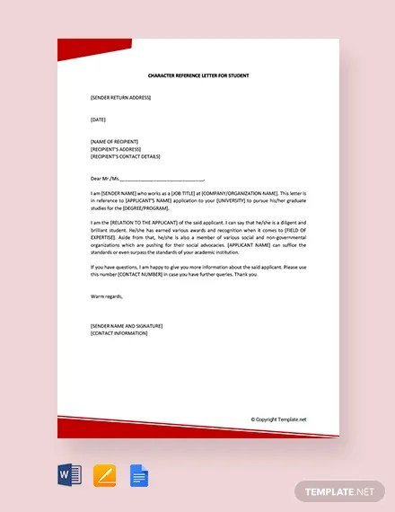 FREE Character Reference Letter For Student Template Download 2241+
