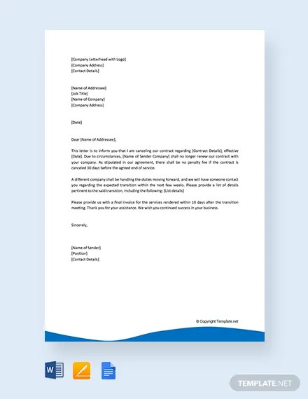 FREE Contract Cancellation Letter Template Download 1994+ Letters