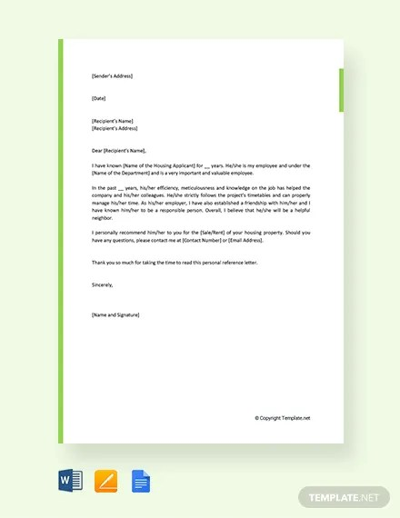 FREE Personal Reference Letter For Housing Template Download 1994+