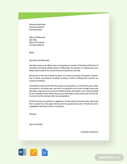 Board Resignation Letter inspirational sample professional letter