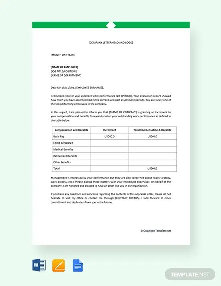 FREE Employee Performance Appraisal Letter Template Download 1990+