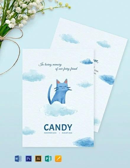 Pet Memorial Card Template in Adobe Illustrator, Photoshop