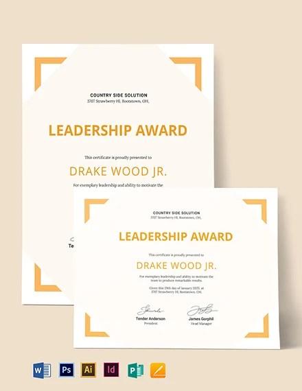Simple Leadership Certificate Template