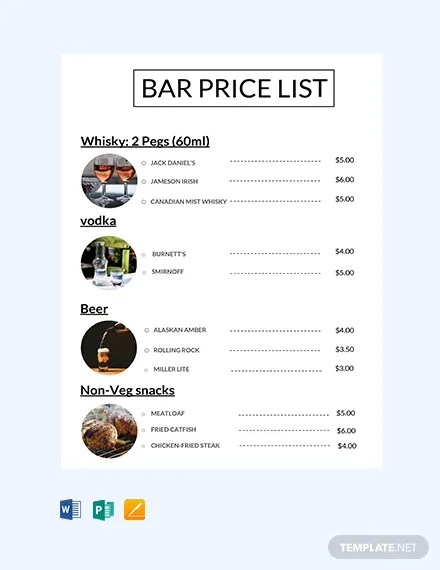 FREE Bar Price List Template in Microsoft Word, Publisher, Apple