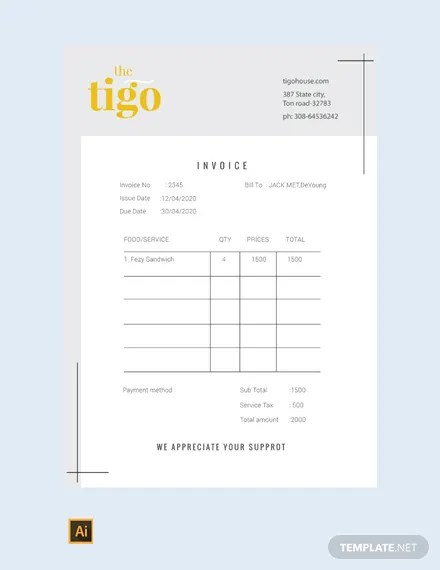 FREE Restaurant Invoice Template Download 156+ Invoices in Word