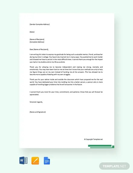 FREE Thank You Letter To Mentor Teacher Template Download 2242+