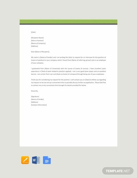 FREE Formal Interview Request Letter Template Download 2191+
