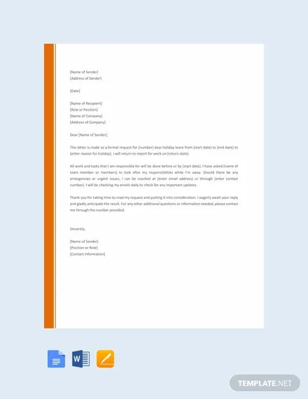 FREE Holiday Request Letter Template Download 700+ Letters in Word