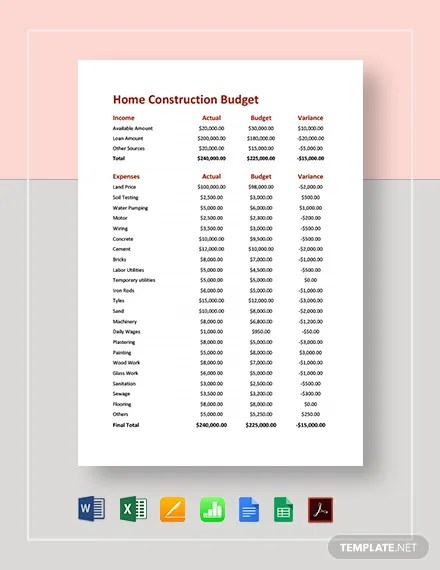 Home Construction Budget Template Download 18+ Budget Templates in
