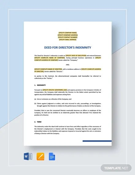 Directors Indemnity Deed Template Download 459+ HR Templates in