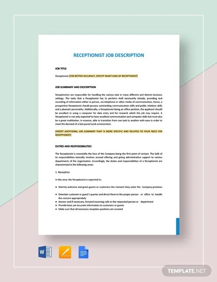 13+ Receptionist Job Description Templates - Free Sample, Example
