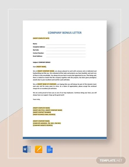 Company Bonus Letter Template Download 459+ HR Templates in