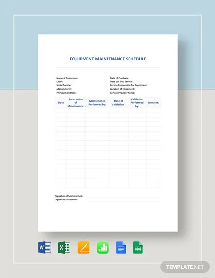 FREE Equipment Maintenance Schedule Template Download 363+
